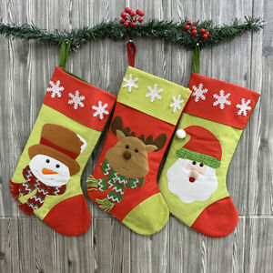 3X-Christmas-Stockings-Candy-Gift-Bags-with-Hanging-Hoop-Santa-Claus-Snowman