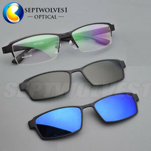 ed6965f8e6 Image is loading 2pcs-Polarized-Magnetic-clip-on-Sunglasses-Eyeglasses- Frames-