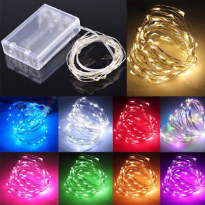 Fairy-Lights-Battery-Operated-Micro-Warm-Cool-White-LED-Copper-Silver-Wire-Lamp