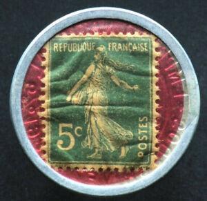 5-CENTIMES-1920-FRANCE-CREDIT-LYONNAIS-Timbre-Monnaie