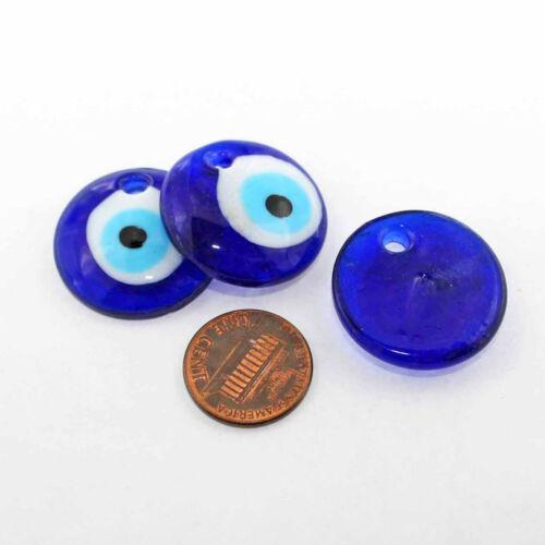 Evil Eye Lampwork Glass Pendant Royal Blue 26mm BD1321