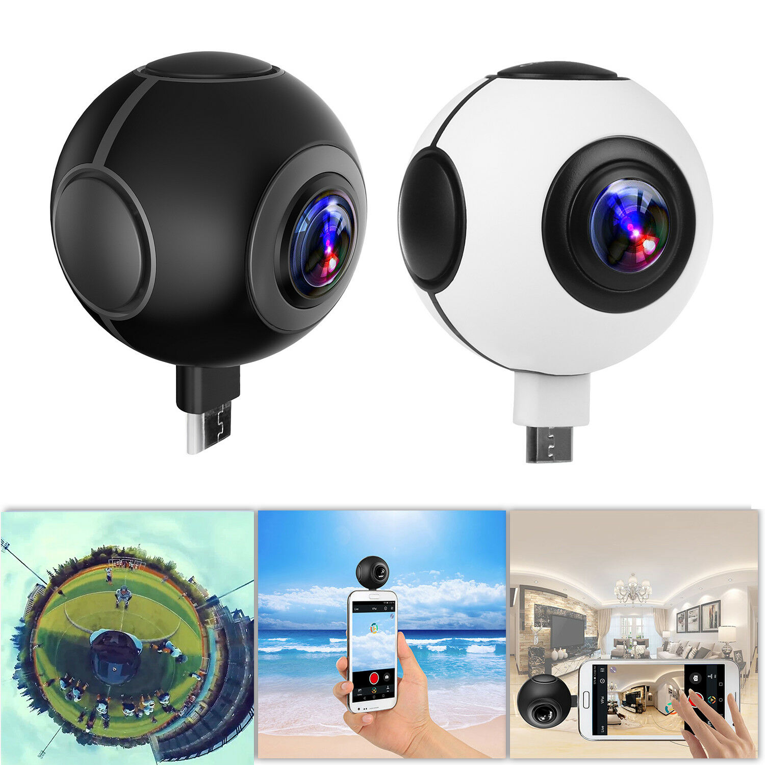 Mini 360° Panoramic VR Camera Dual Lens HD Sport Action Cam for Andriod Phone Featured