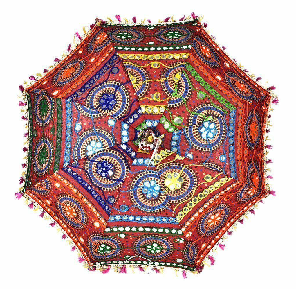 Wholesale Lot 5-Pc Embroidered Indian Hand Parasol-Sun Ethnic-Garden Umbrellas