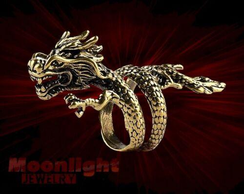 New Dragon Gold Punk Vintage Gothic Band Men/'s Ring
