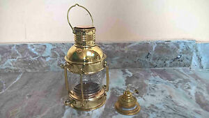 Antique-Brass-Ship-Oil-Lantern-Lamp-For-Home-Collectible-Decorative