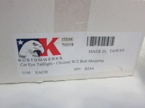 New Kustomwerks 76018 Cat Eye Taillight Chrome W// 2 Bolt Mounting