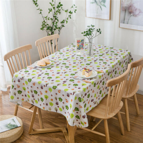 Cotton Linen Table Cover Cloth Wipe Clean Party Tablecloth Rectangle Cover Cloth