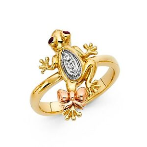 Solid 14k Yellow White Rose Gold Frog Ring CZ Bow Tie Toad Band Good