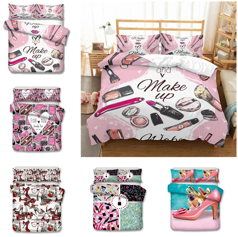 Novelty 3D Makeup High Heeled shoes Bedding Set Of Duvet Cover & Pillowcase