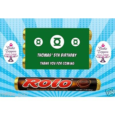 PERSONALISED green lantern SUPERHERO CHOCOLATE WRAPPERS FITS ROLOS OR SIMILAR