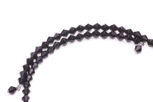 ZX39 FLIRTATIOUS FEATHER PENDANT BLACK DIAMOND FACETED BEAD ONESIZE CHOKER