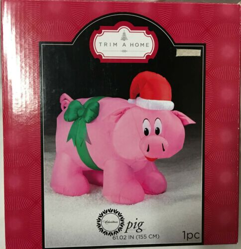 5Ft Pink Santa Pig w// Bow Lighted Airblown Inflatable Christmas Holiday Balloon