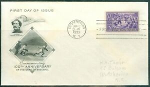 US -FDC.855 BASEBALL 100th.ANNIV.CANCEL.COOPERSTOWN NY.JUNE.12-1939 ADDR.