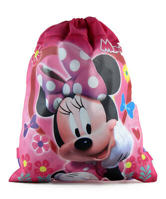 12pc Sling Bag Tote Drawstring Non-Woven Disney Minnie Mouse New Party Favor Lot