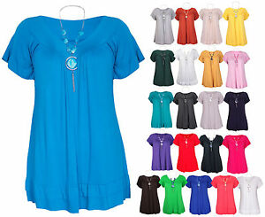Womens-New-Short-Sleeve-Ladies-V-Neck-Frill-T-Shirt-Bead-Necklace-Top-Plus-Size