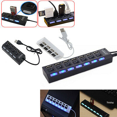 High Speed Adapter ON//OFF Switch Laptop//PC RF 7-Port USB 2.0 Multi Charger Hub