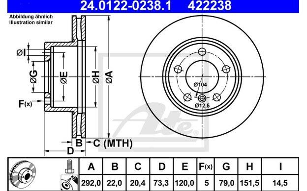 ATE Juego de 2 discos freno Antes 292mm ventilado para BMW Serie 3