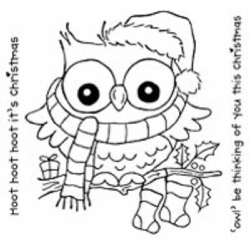 Woodware Clear Magic Christmas Hoot Stamp FRS142