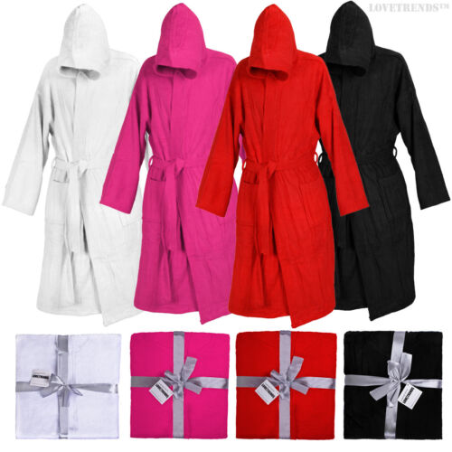 HOODED BATHROBE 100/% COTTON M L XL 2XL 3XL PRESENT GIFT MENS LADIES GOWN ROBE
