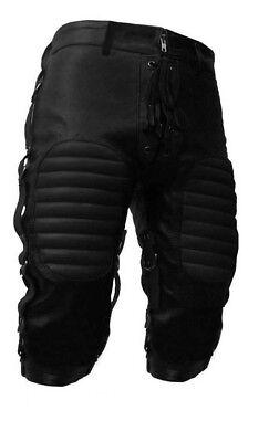 Mens Black Leather Heavy Duty Bondage Shorts BLUF Gay Shorts With Dual Rear Zip