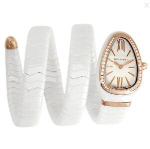 BVLGARI Serpenti Spiga White Lacquered Dial Ladies Watch