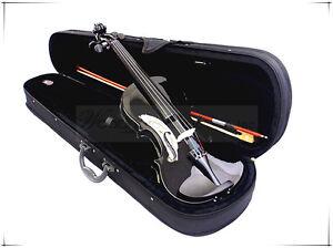 New School/Beginner 4/4 Black Violin & Bow/Rosin/Case/Extra Free String Set