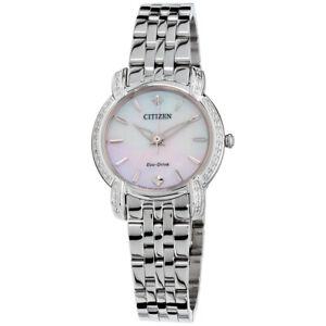 Citizen-Eco-Drive-Jolie-Women-039-s-Silver-Tone-Bracelet-30mm-Watch-EM0690-50D