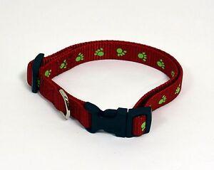 NEW-5-8-034-W-Nylon-Dog-Paw-Printed-Collar-Small-11-16-034