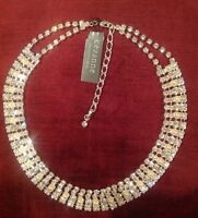 Cezanne Silvertone Rhinestone Faux Pearl Bridal Prom Necklace 17-rv $58-nwt