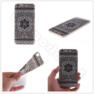 Black Flower Feather Thin Soft TPU Protective Case Cover Skin For Various Phones