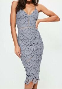 Detail Rrp maat 45 £ Midi jurk Lace Missguided Blue Uk8 B64 qxZRTw