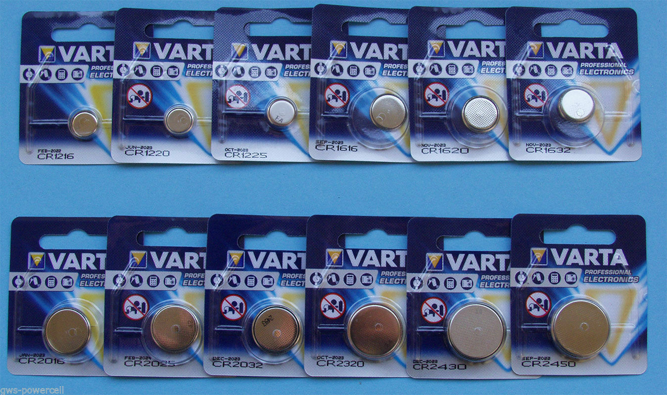 Knopfzellen Varta CR Reihe 1216 1220 1225 1616 1620 1632 2016 2025 2032 2320 usw | Elegant