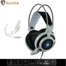 Sades USB 3.5mm 7.1 Surround Sound Stereo Gaming Headphones Microphone LED G0TM