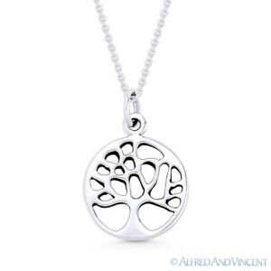 Tree-of-Life-Charm-Circle-Pendant-amp-Chain-Necklace-in-Solid-925-Sterling-Silver