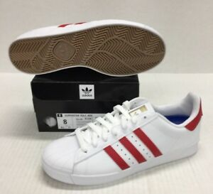 Image is loading ADIDAS-SUPERSTAR-VULC-ADV-CQ1186-WHITE-SCARLET-GOLD