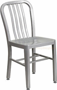 MID-CENTURY-SILVER-039-NAVY-039-STYLE-DINING-CHAIR-CAFE-PATIO-RESTAURANT-IN-OUTDOOR