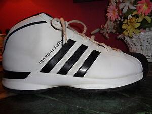 Details about Mens ADIDAS white/black climacool fit foam basketball shoes pro model fusion 18M