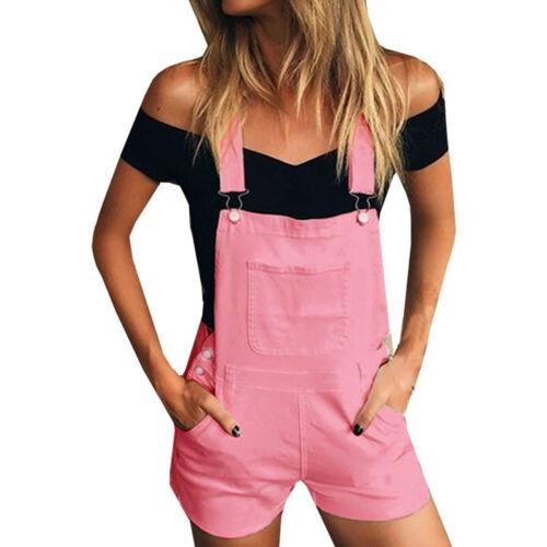 Fashion Women Denim Bib Hole Pants Overalls Jeans Demin Shorts Jumpsuit Romper