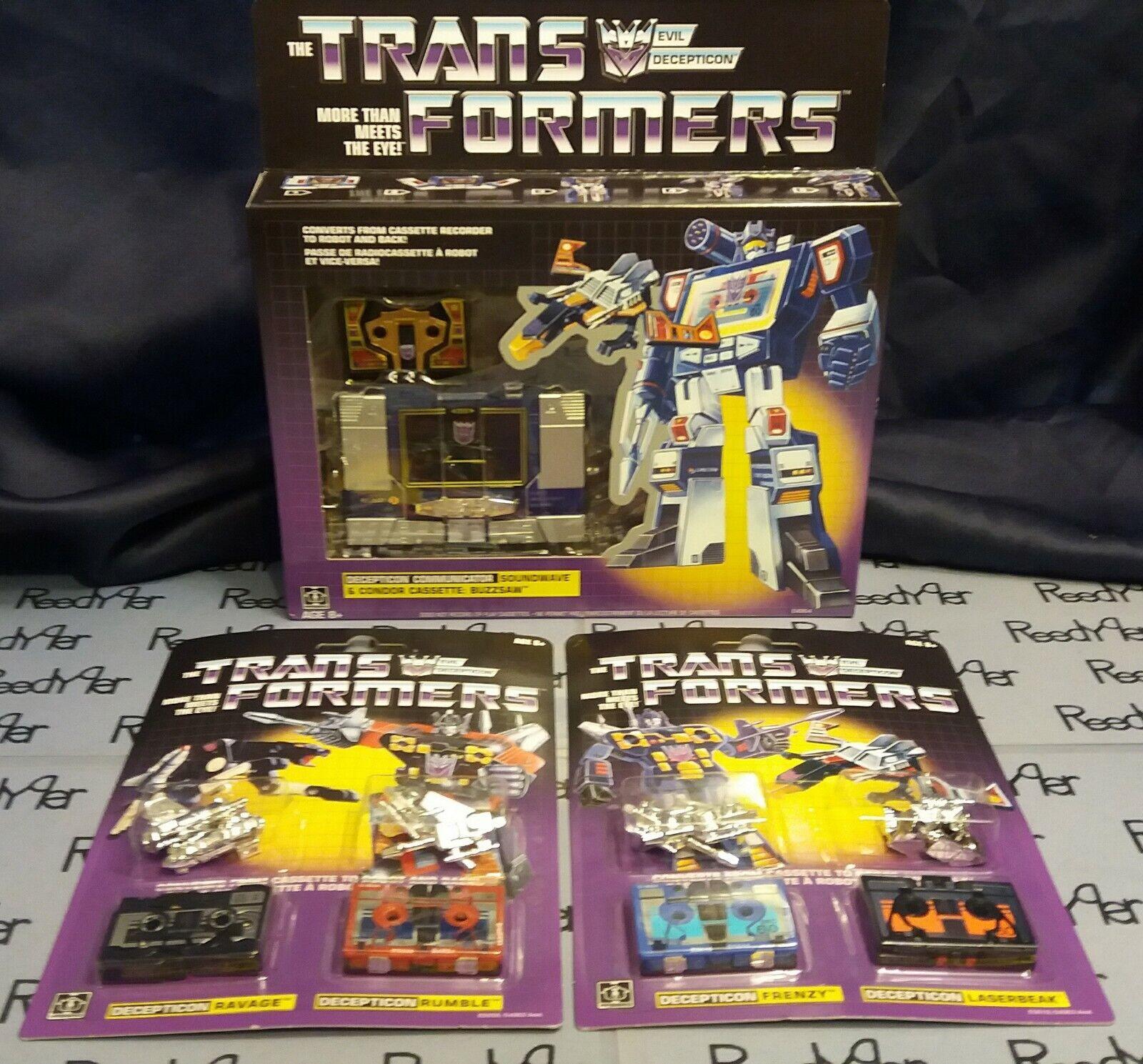 Transformers Decepticon Soundwave Action Figure G1 Rerelease & 4 cassette tapes
