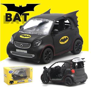 1-36-Model-Alloy-Batman-Smart-Fortwo-Car-Diecast-Black-Gift-Collection-W-Light