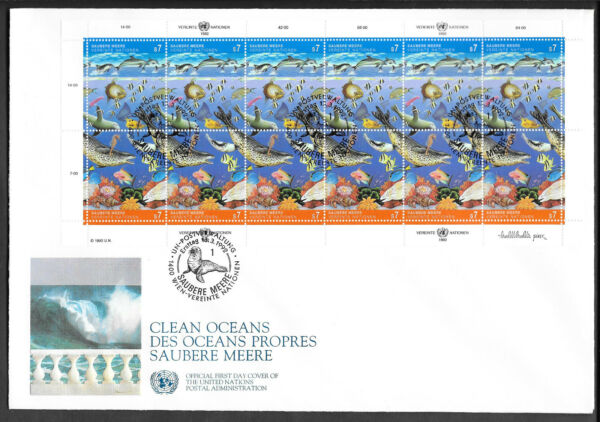 Consciencieux F003 Nations Unies-vienne/poissons Minr 127/28 Klein Arc-fdc Construction Robuste