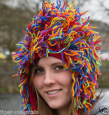SILLY Ski Snowboard Fleece Lined Multicoloured Woolly Hat - free UK P&P!