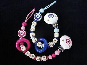 Schnullerkette mit Namen ★Nazar-türkisches Auge ★ Junge Mädchen Rosa möglich