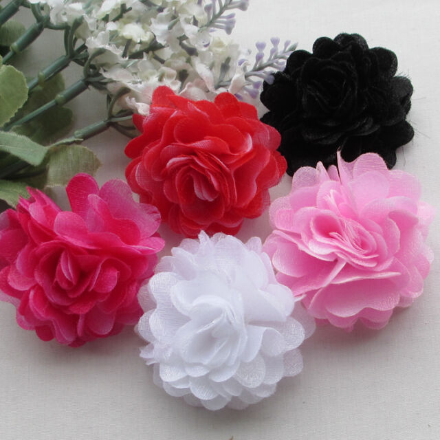 10/50pcs Mix Hard Net yarn Handcraft Flowers Craft Sewing Appliques 50mm RB160