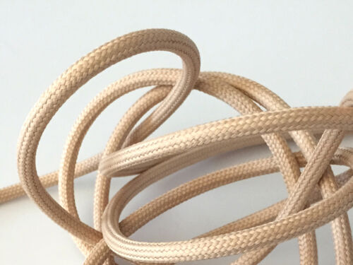 Stecker 2m Premium Design Textilkabel-Zuleitung Hellbeige 3x0,75 Schalter