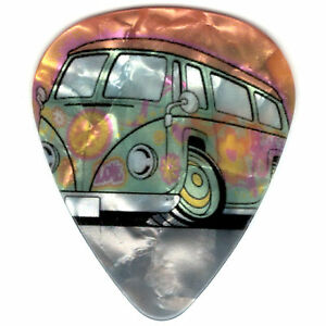 12-Pack-PEACE-LOVE-HAPPY-Hippie-VW-Bus-Transporter-Medium-Gauge-Guitar-Picks