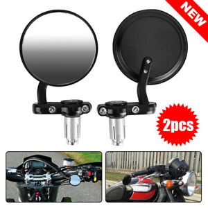 Pair-7-8-034-Motorcycle-Handle-Bar-End-Mirrors-Motorbike-Cafe-Racer-Rear-Side-View