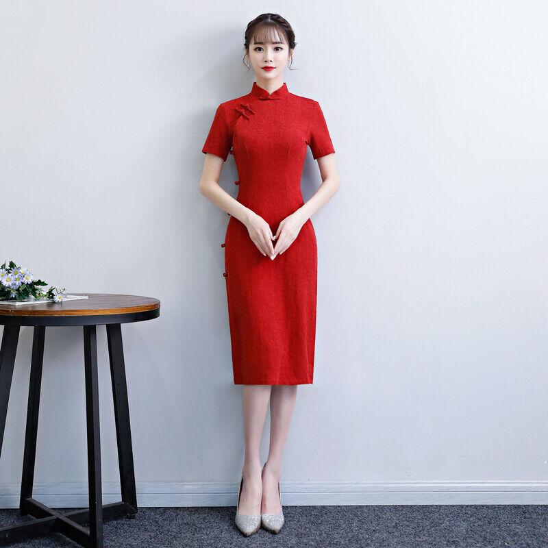 Womens Cheongsam Evening Cotton Linen Solid Color Slim Dress Retro Chinese Qipao