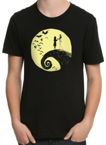 Nightmare Before Christmas Jack Yellow Silouette Black Men/'s Graphic T-Shirt New