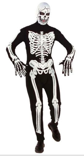 Kids Skeleton Costume Jumpsuit Halloween Fancy Dress Teen Boys Girls Age 12-16
